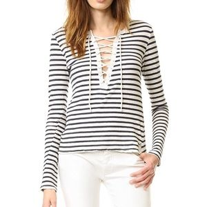 Pam & Gela long sleeve cream striped lace up tee L